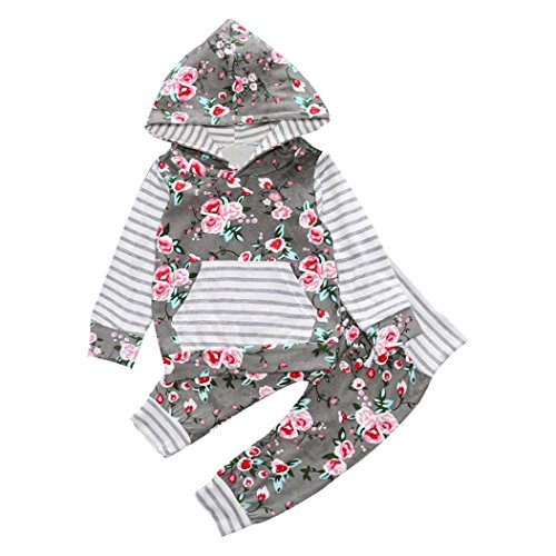 Price comparison product image PPBUY 2PCS Girl Floral Hooded Coat Tops Pants Outfits Clothes Set (0-6M)