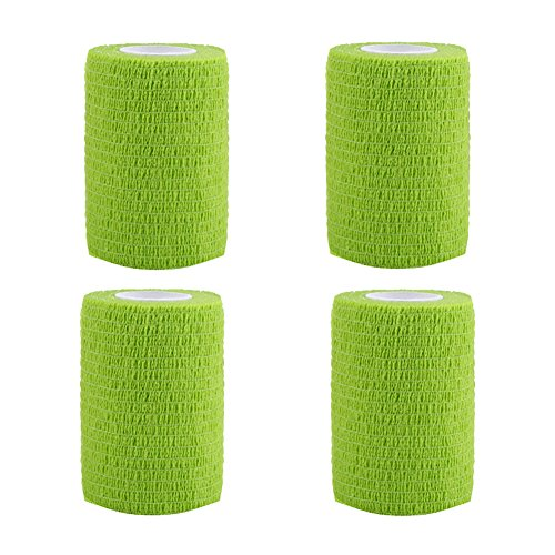 GouGou 4 Rolls Self-Adhesive Bandage First Aid Tape Non-woven Ventilate Flexible Strong Elastic Wrap for Ankle Waist Knee Elbow Athletic Sports Pets Medical Support 3 Inch X 5 Yds (Green)