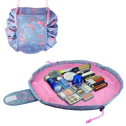 Drawstring Makeup Bag Waterproof Drawstring Cosmetic Bag Multifunction Toiletry Bag Quick Makeup Bag Travel Hanging Portable Organizer Pouch for Women