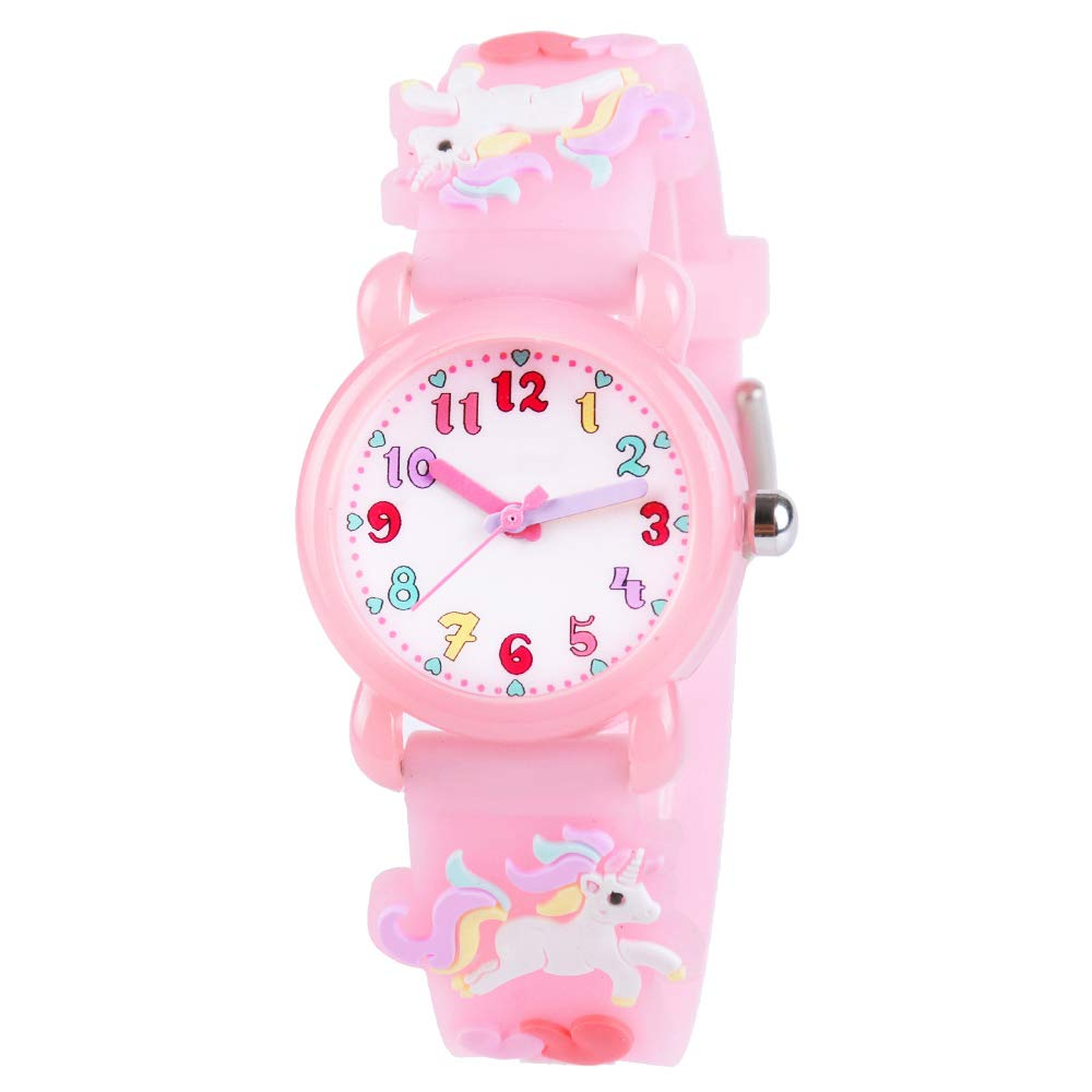 Venhoo Kids Watches 3D Cute Cartoon Waterproof Silicone Children Toddler Wrist Watch Time Teacher Birthday Gift for 3-10 Year Girls Little Child-Pink by Venhoo