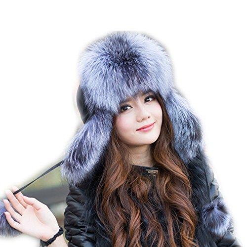 d80da9702e5aa qmfur Womens Winter Hat Genuine Fox Fur Russian Trapper Ushanka Hats With  Pom Poms