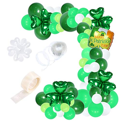108 Packs 16 Ft St. Patrick's Day Green Balloon Garland Kit Green White Latex Balloon Clover Happy St. Patrick's Day Aluminum Balloon for St. Patrick's Day Party Decoration (Patricks Day Garland)