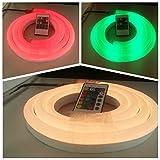 24V RGB LED NEON LIGHT, Vasten Flexible RGB LED Neon Light Strip, Waterproof, Multi Color Changing 5050 SMD LED Rope Light + Remote Controller for Home Decoration (5M/16.4ft)