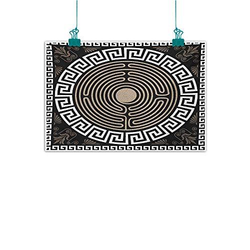 Modern Frameless Painting Greek Key Grecian Fret and Wave Pattern on Dark Background Antique Retro Swirls Bedroom Bedside Painting W35 xL31 Dark Brown Coconut Tan - Vase Key Greek