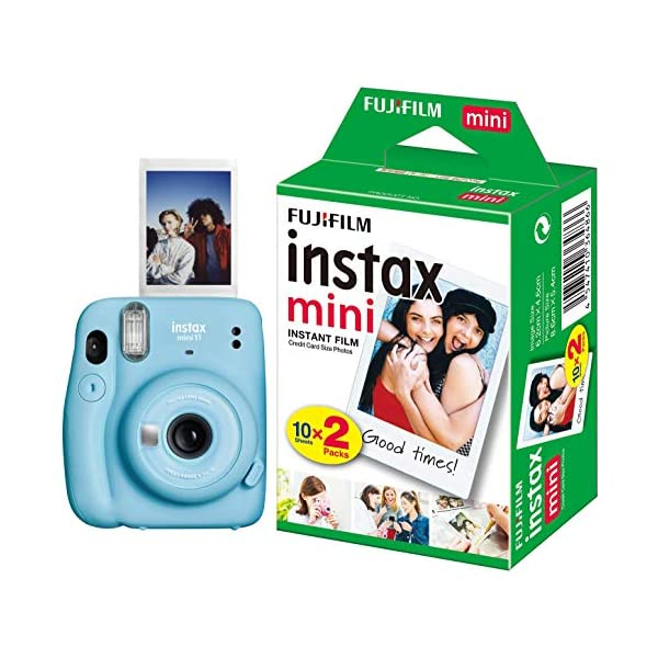 RetinaPix Fujifilm Instax Mini 11 Instant Camera (Sky Blue) with Film Gift Offer