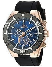 Invicta Men's 'Aviator' Quartz Gold and Silicone Casual Watch, Color:Black (Model: 22524)