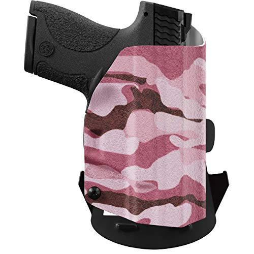 We The People - OWB Holster Compatible with Walther PPS M2 9MM Gun -  Outside Waistband Concealed Carry Kydex Holster (Left Hand, Pink Camo)