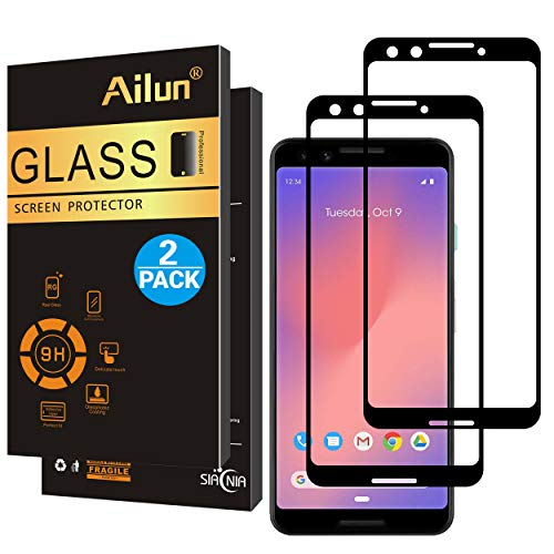 AILUN Screen Protector for Google Pixel 3(2018),[2Pack](5.5inch),2.5D Edge Tempered Glass for Google Pixel 3,Anti-Scratch,Case Friendly,Siania Retail Package
