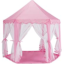 "Reliancer Large Indoor Kids Hexagon Princess Castle Play House Tent Pink Outdoor Child Playhouse w/Hexagonal Coral Rug and Lights 55""x 53""(DxH)"