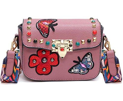 del spalla Piccola Borsa borsa NVBAO pacchetto singolo del grey Shopping ricamo del della signora della Ricamo pink quadrato ricamo nazionale Piccolo vyyZ4caqB