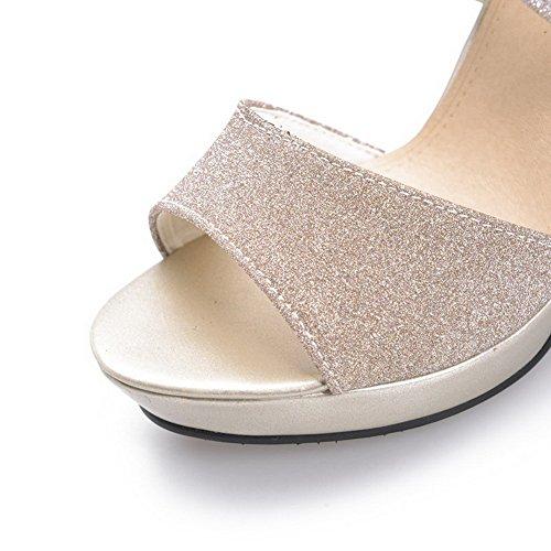 AmoonyFashion Womens Open Toe Zipper Pu Solid Spikes Stilettos Sandals Gold BApbpJ