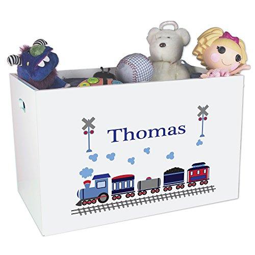 Personalized Train Childrens Nursery White Open Toy Box (Box Toy Train)