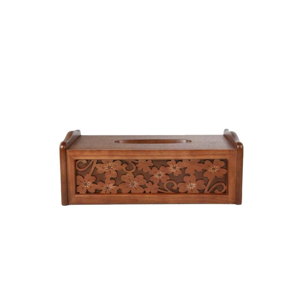 Retro Wooden Tissue Box Holder Cover Handmade Carved for Home Office Decor , log color , 271610