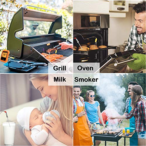 Bluetooth Meat Thermometer, Wireless BBQ Thermometer, 6 Probes Digital Cooking Thermometer for Oven Grill, Smart APP Control for Grilling, Smoker, Kitchen Food, Cake, Support iOS & Android