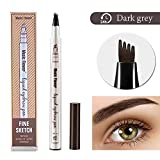 Eyebrow Tattoo Pen- Microblade Pen Microblading Eyebrow Pencil with a Micro-Fork Tip Applicator Creates Natural Looking Brows Effortlessly and Stays on All Day 03 Dark Grey