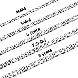 Thunaraz Stainless Steel Figaro Chain Men Necklace Chain for Men Chain Link