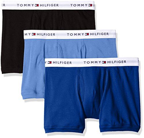Tommy Hilfiger Men's Underwear 3 Pack Cotton Classics Trunks, Ink Blue, X-Large (Multi Ink Blue)
