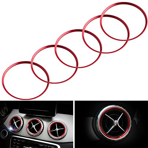 JGR Aluminum JDM 5Pcs Red Car Air Condition Vent Outlet Ring Opening Decoration Cover Trim For Mercedes A B CLA GLA Class 180 200 220 - Outlets Mercedes