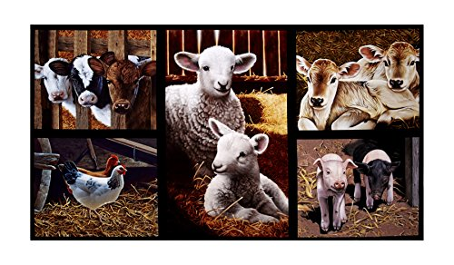 Robert Kaufman Kaufman Down On The Farm Digital Glasses Country Animals 24in Panel Blue Fabric