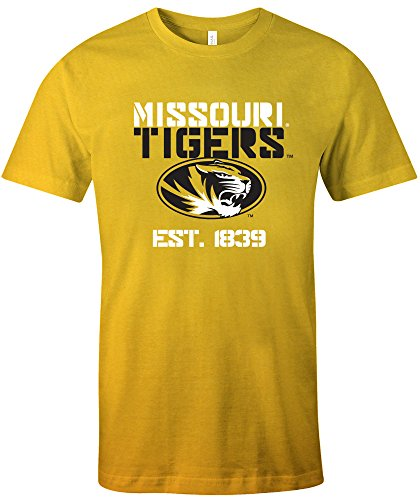 NCAA Missouri Tigers Est Stack Jersey Short Sleeve T-Shirt, Gold,X-Large