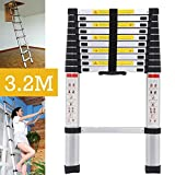Telescopic 3.2M Multi Purpose Ladder Light Weight Aluminum DIY extendable Straight Portable Kit for Home Loft Office, UK Stock