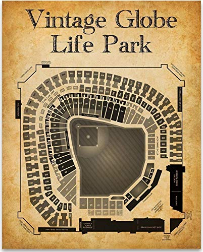 Vintage Globe Life Park Baseball Stadium Art Print - 11x14 Unframed Art Print - Great Sports Bar Decor and Gift Under $15 for Baseball - Stadium Print Personalized