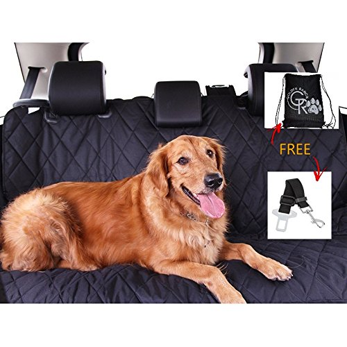 """Pet Seat Cover by Golden Ranch Pets, Waterproof Car Seat Cover for Dogs - 54""""x58"""" for Car/Small SUV, Bench/Hammock Style with Rubber Non Slip Backing, Easily Cleaned, w/ Seat Belt Anchor & Storage"""