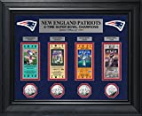 NFL New England Patriots 4-Time Super Bowl Champions Deluxe Coin & Ticket Collection, 32'' x 27'' x 4'', Silver
