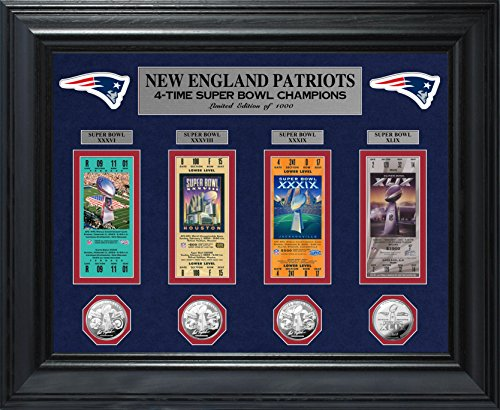 Nfl New England Patriots 4 Time Super Bowl Champions Deluxe Coin   Ticket Collection  32  X 27  X 4   Silver