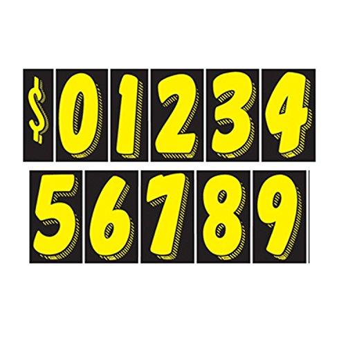 7 1/2 Vinyl Number Decals 11 Dozen Car Lot Windshield Pricing Stickers (7 1/2 inch, Black & Yellow)