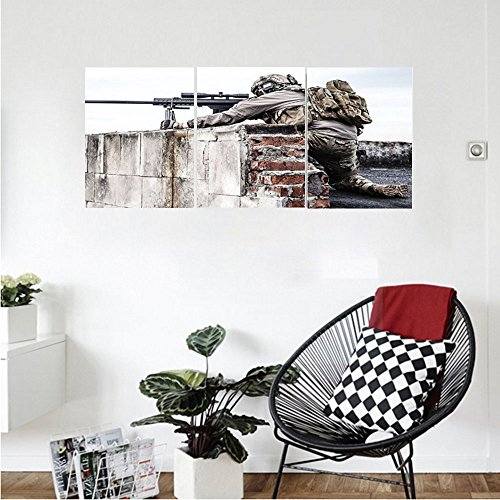 Decorative Hammered Roof Accent (Liguo88 Custom canvas War Home Decor Army Sniper Warrior Targeting on Roof during the Operation Commando Task Theme Wall Hanging for Bedroom Living Room Multi)