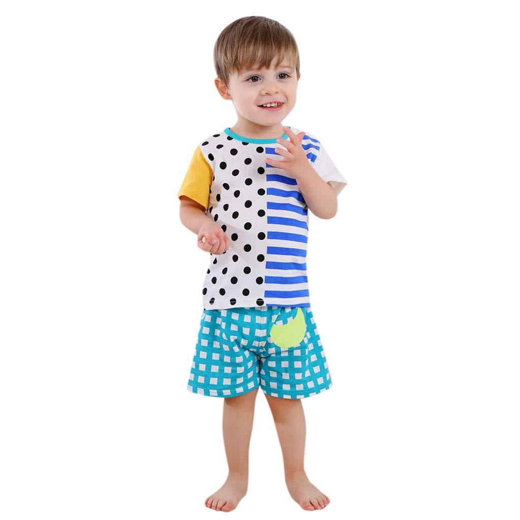 Toddler Girls' 2-Pack Short-Sleeve Shirts and Pants Stripe Dot Printed Blue