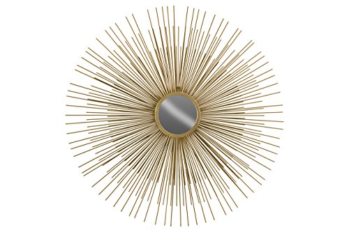 Metal Finish Sunburst Design Bedroom - Urban Trends Metal Round Wall Mirror with Sunburst Design Metallic Finish, Gold