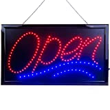 Large LED Open Sign for Business Displays: Jumbo Light Up Sign Open with 2 Flashing Modes | Electronic Lighted Signs for Bars, Liquor Stores | No use of Toxic Neon (24'' x 13'', Model 1)