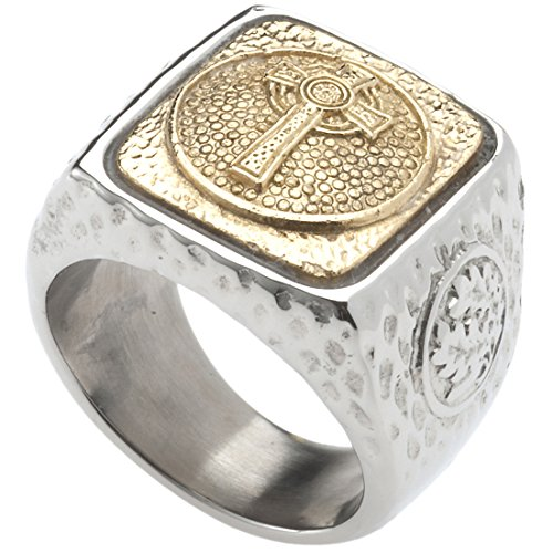 Celtic Cross Signet Ring. Platinum Style Surgical Stainless Steel with 18kt Gold Plating. RSS24CRS10