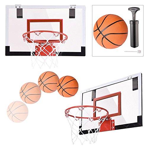 Koval Inc. Mini Indoor Basketball Rim Backboard with Mini Ball and Pump (Orange mini basketball)