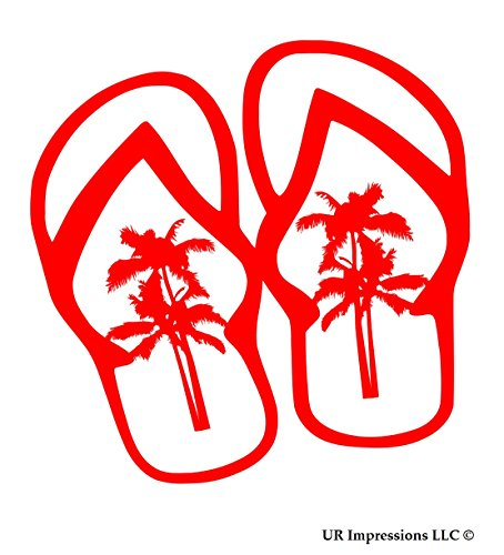 (UR Impressions Red Palm Tree Flip Flops Sandals Decal Vinyl Sticker Graphics for Cars Trucks SUV Vans Walls Windows Laptop RED 5.5 Inch URI504)