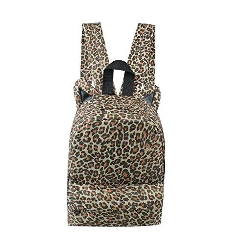 Leopard Animal Ears Design Cotton Canvas Multi-function Travel Hiking College Backpack Rucksack Daypack Shoulder Book Bag Schoolbag Laptop Satchel