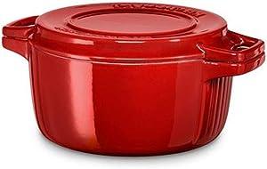 KitchenAid Kcpi 40CRER Cast 24x 24x 10cm Cast Iron Oval Casserole, Empire Red