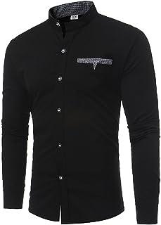 Hombre blusa manga larga Otoño,Sonnena ❤️ Camisas para hombres Slim Solid Color Camiseta de manga larga casual de verano Blusa casual
