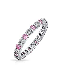 Bling Jewelry Simulated Pink Topaz and Clear CZ Stackable Eternity Band Ring 925 Sterling Silver