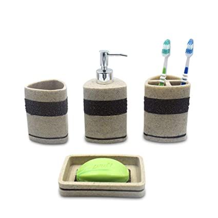Sterling Natural Stone Finish Polyresign 4 Pieces Bathroom Set-Liquid Soap Dispenser, Toothbrush Holder, Tumbler & Soap Dish Holder (Beige)