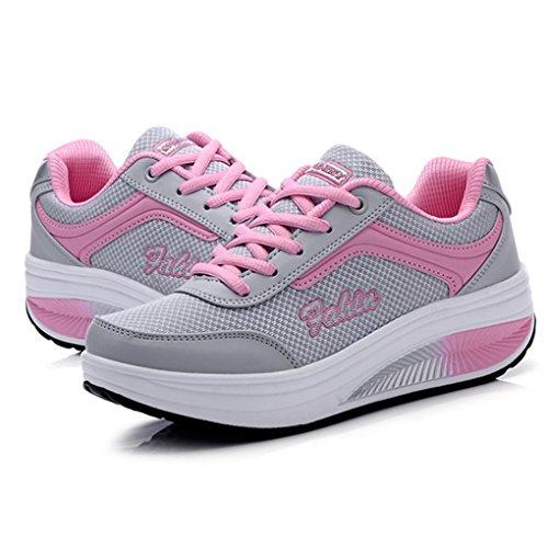 Cybling Utomhus Kvinnor Atletisk Motion Promenadskor Danar Sport Kör Kil Sneakers Rosa