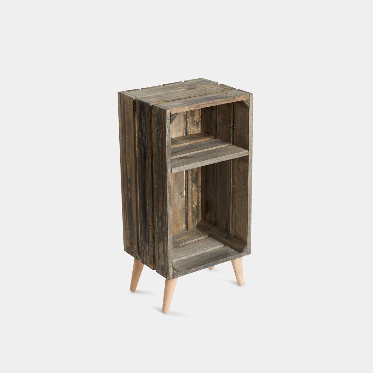 Rebajas oferta Mesita de noche de caja de frutas en madera, cajón en gris envejecido con patas, cuadradas, hierro hairpin legs,de madera de haya cónicas 60x30x25, muy estilo nórdico: Amazon.es: Handmade