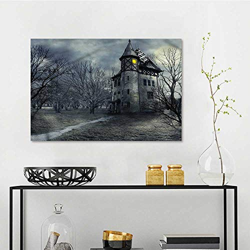 - one1love Halloween Modern Decorative Painting Gothic Haunted House for Living Room,Dinning Room, Bedroom W27 xL19