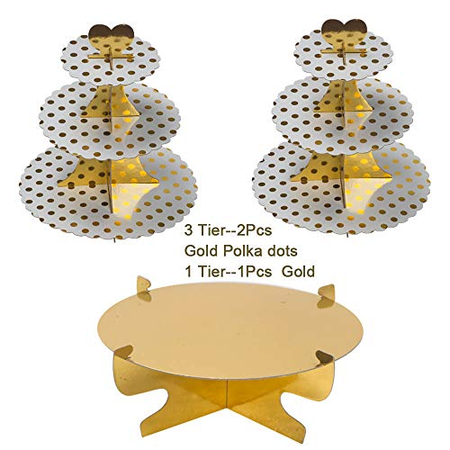Dot Wedding Cake - Round Cardboard Cupcake Stand 3-Tie Paper Dessert Tower Gold Polka Dots design Cake Stand Reusable Treat Stacked Pastry Platter Food Display For Birthday Wedding Event Decoration (Pkg of 3)