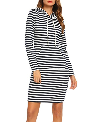 ACEVOG Women O-Neck Short Sleeve Striped Solid Casual Flared A-Line Swing Dress