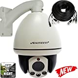 PTZ Camera Ventech Indoor Mini Dome 10X Zoom 960H 1000TVL 3 Big Leds Night Vision High Resolution RS485-BNC-Power Cable Included with Metallic Mount Bracket