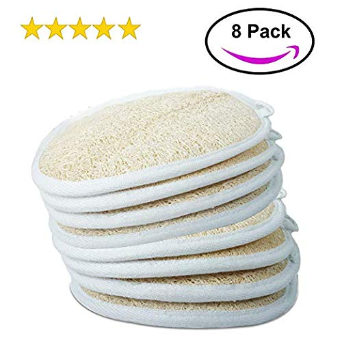 "- MyM Exfoliating Loofah Sponge Pads (Pack of 8) - Large 4x6"" - 100% Natural Loofah Material Loofah Sponge for Men and Women, Perfect for Bath Shower and Spa"