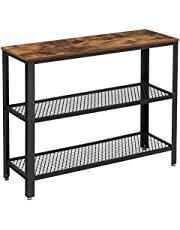 VASAGLE Industrial Console Table, Hallway Table with Mesh Shelves, Side Table, Rustic Brown ULNT81BX